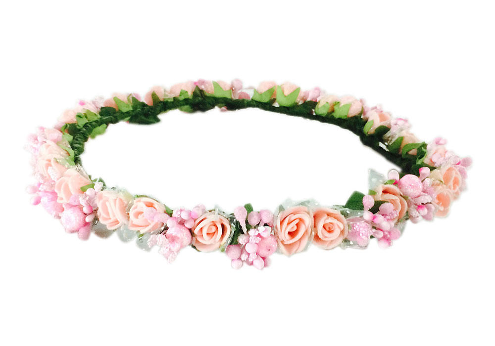 Loops n knots Princess Peach   Pink Floral Tiara Crown Headband For ... a14c8e93e36