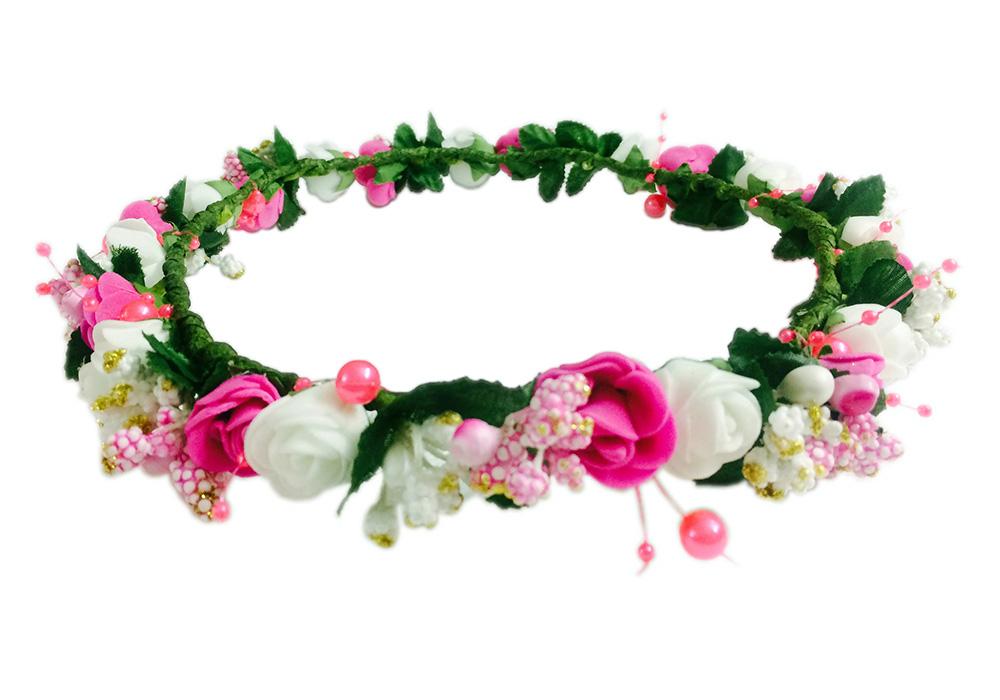 Loops n knots pink white floral tiaracrown with wrist bandpuff loops n knots pink white floral tiaracrown with wrist bandpuff wrap for girls women combo pack mightylinksfo