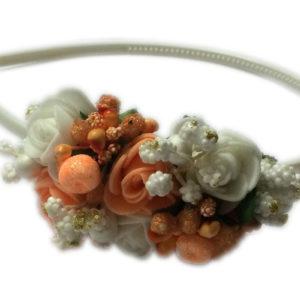 Loops n knots White & Orange Hairband/Tiara/Floral Crown For Girls & Women-Hair Accessories