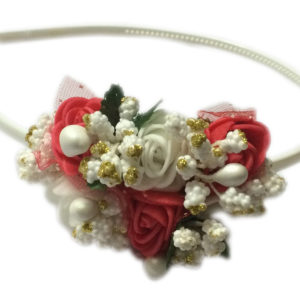 Loops n knots White & Red Hairband/Tiara/Floral Crown For Girls & Women-Hair Accessories