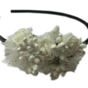 Loops n knots White & Black Hairband/Tiara/Floral Crown For Girls & Women-Hair Accessories