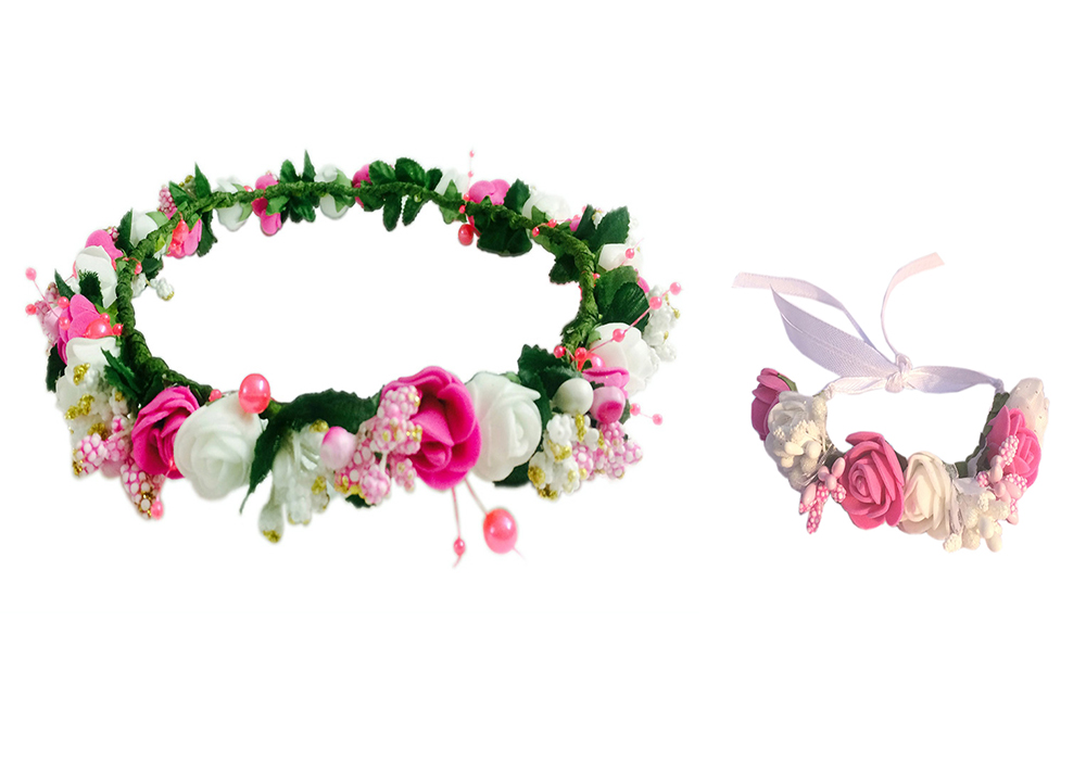 Loops N Knots Pink White Floral Tiaracrown With Wrist Bandpuff