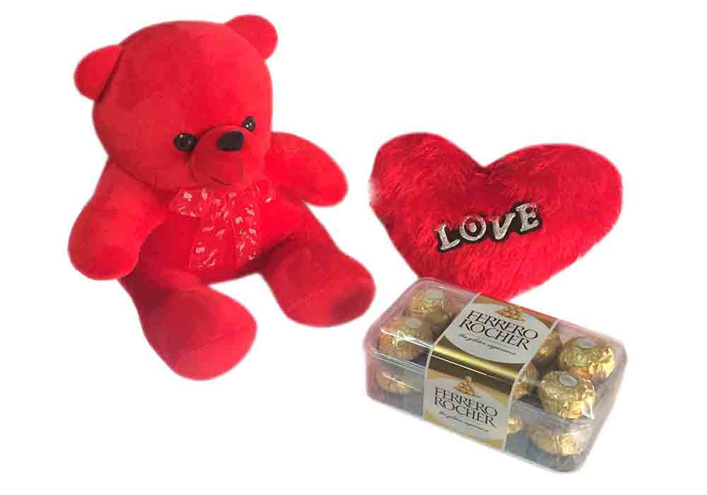 Loops N Knots Valentine S Day Gift Combo Cute Red Teddy Bear Red