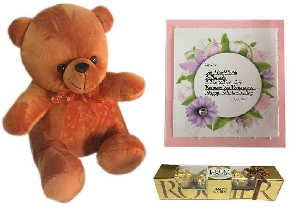 Loops N Knots Valentine S Day Gift Combo Cute Brown Teddy Bear
