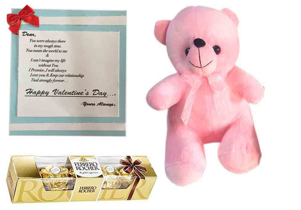 Loops N Knots Valentine S Day Gift Combo Cute Pink Teddy Bear